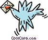 bird with a Valentine in it's mouth Vector Clipart illustration