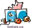 Vector Clipart graphic  of a toy wagon