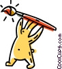 Easter bunny with a paint brush Vector Clip Art picture