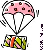 Vector Clipart graphic  of a parachute with a present