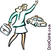 businesswomen hailing a cab Vector Clipart graphic