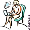 woman working on her computer in a airplane Vector Clip Art image
