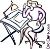 Vector Clipart illustration  of a drafting table