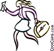 Vector Clip Art picture  of a woman running with luggage