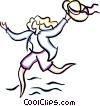 Vector Clip Art picture  of a woman running with a hat in