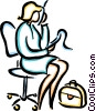 Vector Clipart graphic  of a woman on the phone sitting in