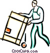 Vector Clipart graphic  of a man with a shipping crate