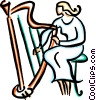 Vector Clipart illustration  of a harpist