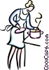 Vector Clipart illustration  of a cooking on the stove