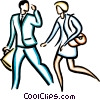 couple talking and walking Vector Clip Art picture