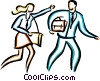 Vector Clipart image  of a couple in a hurry