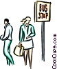 Vector Clip Art picture  of a people waiting at the bus stop