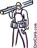 carpenter with hammer and lumber Vector Clipart image