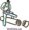 man with a chainsaw Vector Clipart image