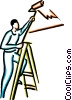 painters painting Vector Clipart graphic