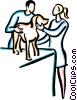 Vector Clipart image  of a dog at the vet