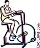 Vector Clip Art image  of a person riding a stationary