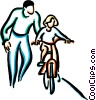 little girl learning to ride a bicycle Vector Clipart graphic