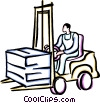 Vector Clip Art image  of a person driving a forklift
