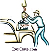 Vector Clipart image  of an automotive worker