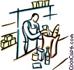 grocery clerk bagging groceries Vector Clip Art graphic