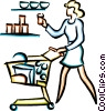 Vector Clipart image  of a woman food shopping