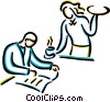 waiter serving food to customer Vector Clip Art graphic