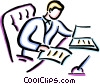 Vector Clip Art graphic  of a man doing paper work at his