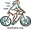 Vector Clip Art picture  of a woman on her bike