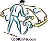 Vector Clip Art graphic  of a man putting gas in his car