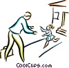 Vector Clipart graphic  of a businessman greeting his child