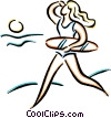 female lifeguard Vector Clipart picture