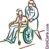 nurse pushing patient in a wheelchair Vector Clipart picture