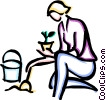 woman planting Vector Clip Art graphic