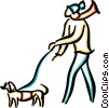 Vector Clip Art graphic  of a man walking a dog