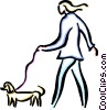 Vector Clipart graphic  of a person walking the dog