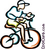 Vector Clipart graphic  of a boy riding his bike