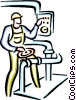 Vector Clip Art graphic  of a factory worker
