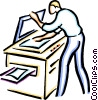 Vector Clipart graphic  of a man making a photocopy
