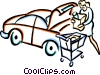 Vector Clip Art image  of a woman loading groceries into a