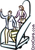Vector Clipart image  of a people getting off a plane