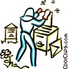Vector Clip Art picture  of a beekeeper