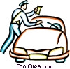 Vector Clipart graphic  of a police officer giving a