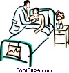 Vector Clipart graphic  of a doctor with a patient