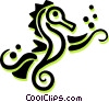 sea horses Vector Clip Art graphic