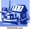 Vector Clip Art graphic  of a commercial fishing boat with