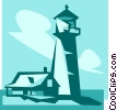 house beside a lighthouse Vector Clip Art picture