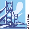 Vector Clipart image  of a suspension bridge