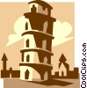Vector Clipart graphic  of a leaning tower of Pisa