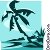 palm tree on a beach Vector Clipart illustration